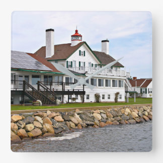 Bass River Lighthouse, Mass. Square Wall Clock