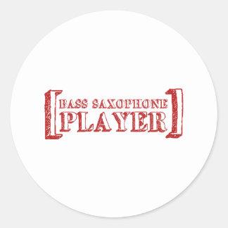 Bass Saxophone  Player Round Sticker