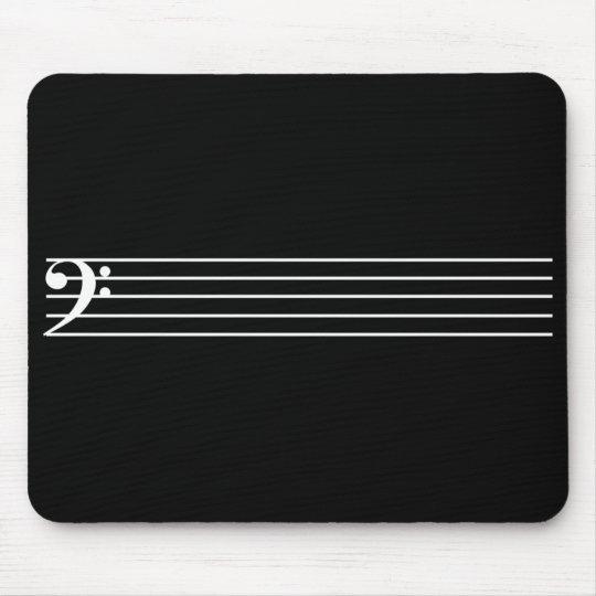 Bass staff Black Mouse Pad