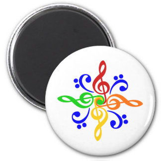 Bass & Treble Clef Design 6 Cm Round Magnet