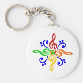 Bass & Treble Clef Design Basic Round Button Key Ring