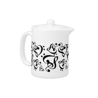 Bass Treble Clef Hearts Black & White Music Teapot