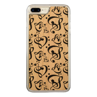Bass Treble Clef Hearts Music Notes Pattern Carved iPhone 8 Plus/7 Plus Case
