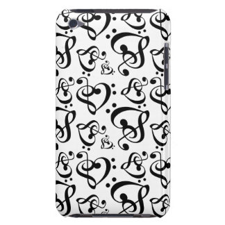 Bass Treble Clef Hearts Music Notes Pattern iPod Case-Mate Case