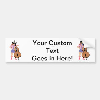 bass upright player cowgirl.png bumper sticker