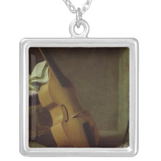 Bass Viol, Score Sheet and a Sword, 1693 Silver Plated Necklace
