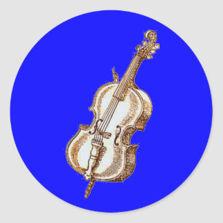 Bass Violin Round Stickers