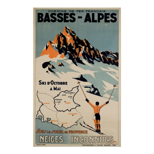 Basses Alpes Ski French Vintage Travel Poster