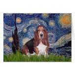 Basset 1 - Starry Night Greeting Card
