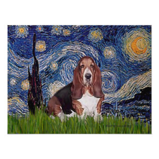 Basset 1 - Starry Night Poster