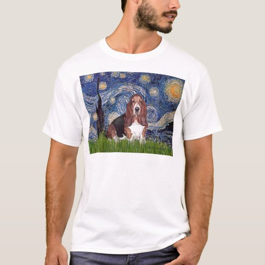 Basset 1 - Starry Night T-Shirt
