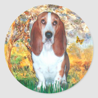 Basset 4 - Spring - Customized Classic Round Sticker