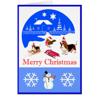 Basset And Bird Snowy Christmas Card