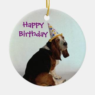 Basset Birthday Dog Christmas Ornament