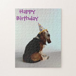 Basset Birthday Dog Jigsaw Puzzle