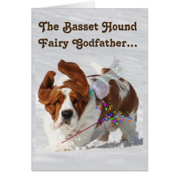 Basset hound happy birthday cards invitations zazzle basset fairy godfather on funny birthday card bookmarktalkfo Gallery