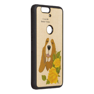 Basset Hound and Yellow Roses Wood Nexus 6P Case