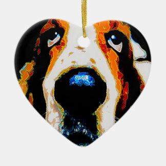 Basset Hound art Ceramic Heart Decoration