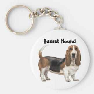 Basset Hound Basic Round Button Key Ring