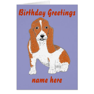 Basset Hound Birthday card Add name front