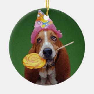 Basset Hound Birthday Lollipop Christmas Ornament