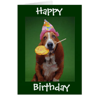 Basset Hound Birthday Lollipop Greeting Card