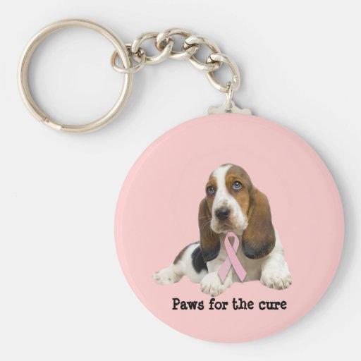 Basset Hound  Breast Cancer Keychain