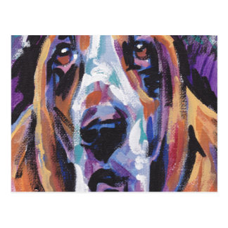 Basset Hound Bright Colorful Pop Dog Art Postcard