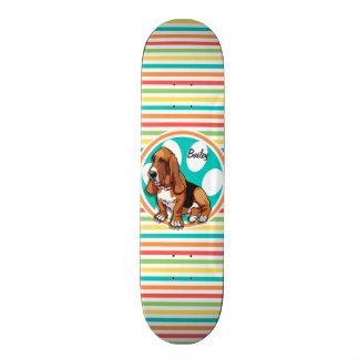 Basset Hound; Bright Rainbow Stripes 21.6 Cm Skateboard Deck
