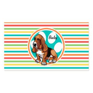 Basset Hound Bright Rainbow Stripes Business Card