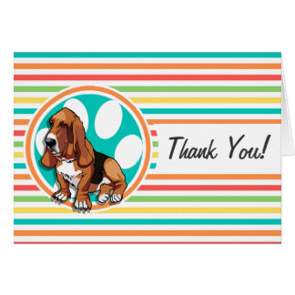 Basset Hound; Bright Rainbow Stripes Greeting Cards