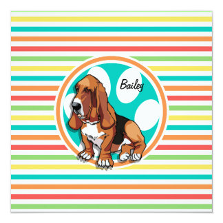 Basset Hound; Bright Rainbow Stripes Personalized Announcement