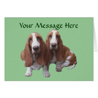 Basset Hound Buddies Greeting Card