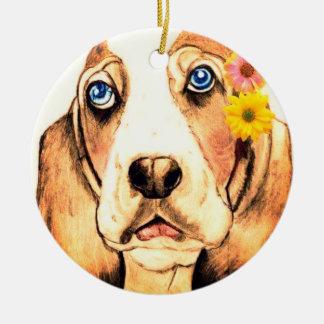 Basset Hound by Carol Zeock Christmas Ornament