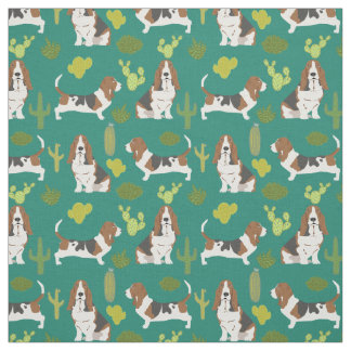 Basset hound cactus fabric - dog fabric for quilt