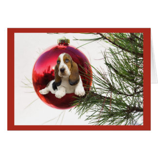 Basset Hound Christmas Card Ball Hanging