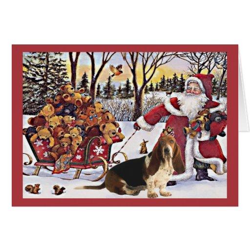 Basset Hound Christmas Card Santa Bears In Sleigh