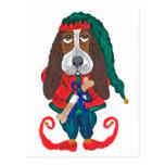 Basset Hound Christmas Elf Post Card
