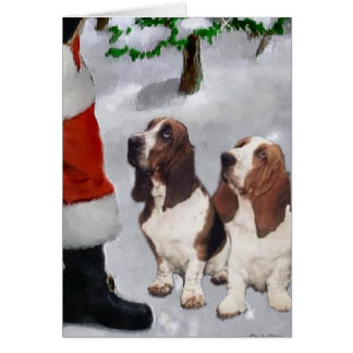Basset Hound Christmas Gifts Greeting Card