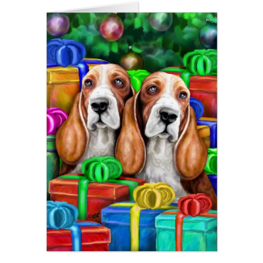 Basset Hound Christmas Open Gifts Card
