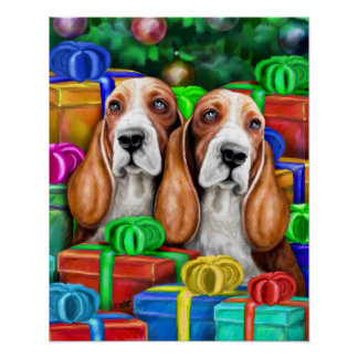 Basset Hound Christmas Open Gifts Poster