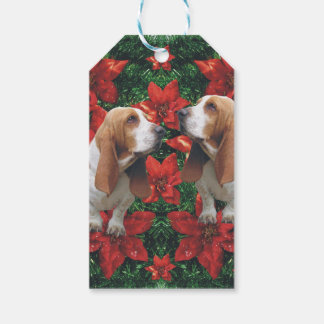 Basset Hound Christmas Poinsettias Gift Tags