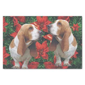 Basset Hound Christmas Poinsettias Tissue Paper