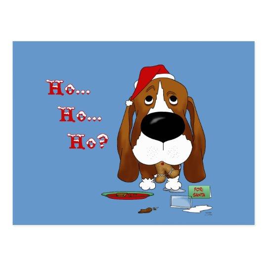 Basset Hound Christmas Postcard