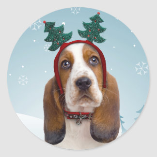Basset Hound Christmas Stickers