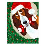 Basset Hound Christmas Wreath Postcard