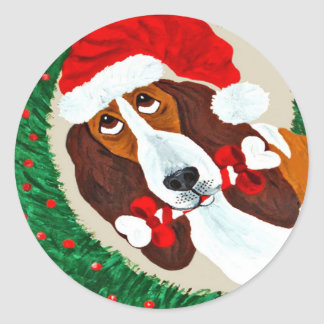 Basset Hound Christmas Wreath Round Sticker