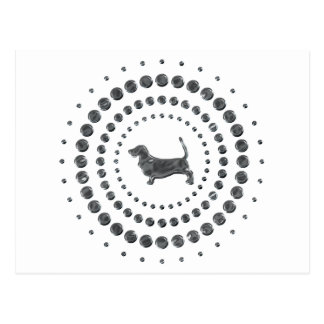 Basset Hound Chrome Studs Postcard