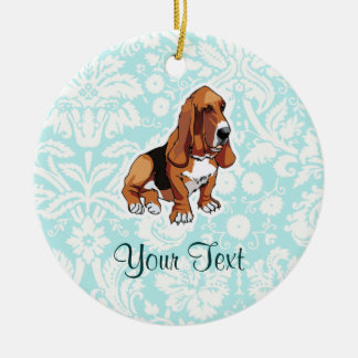 Basset Hound; Cute Round Ceramic Decoration