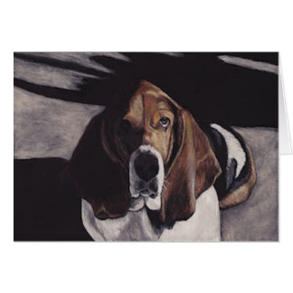 Basset Hound Dog Art Greeting Card